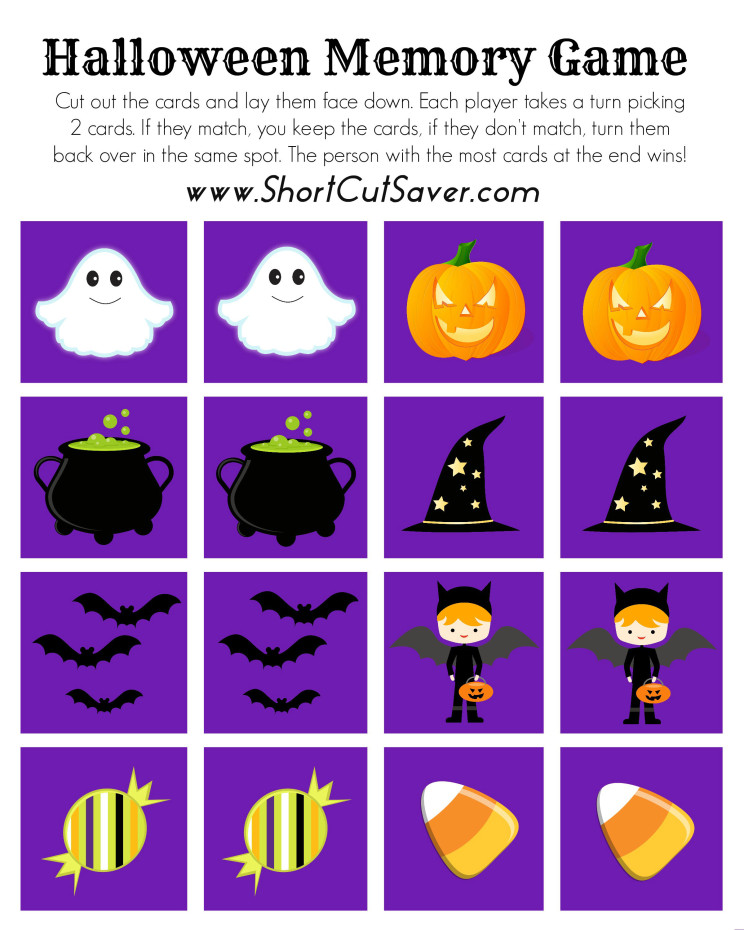 picture regarding Printable Memory Games for Seniors identified as Free of charge Printable Halloween Memory Activity - Every day Shortcuts