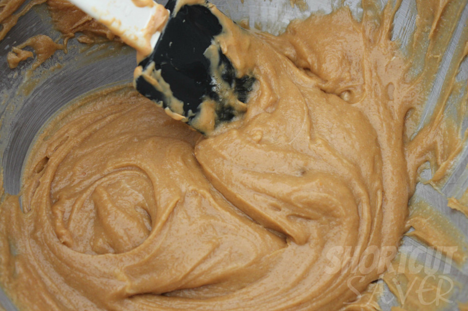 Peanut Butter Cup Blondies Mixing