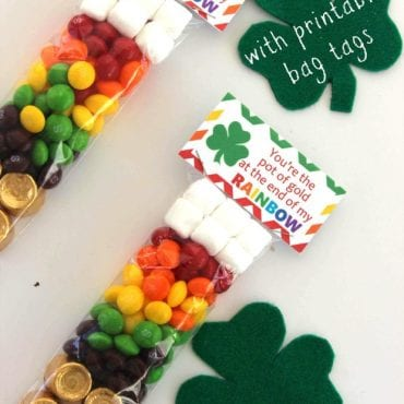 St. Patrick's Day Rainbow Treat Bags with Free Printable Bag Tags
