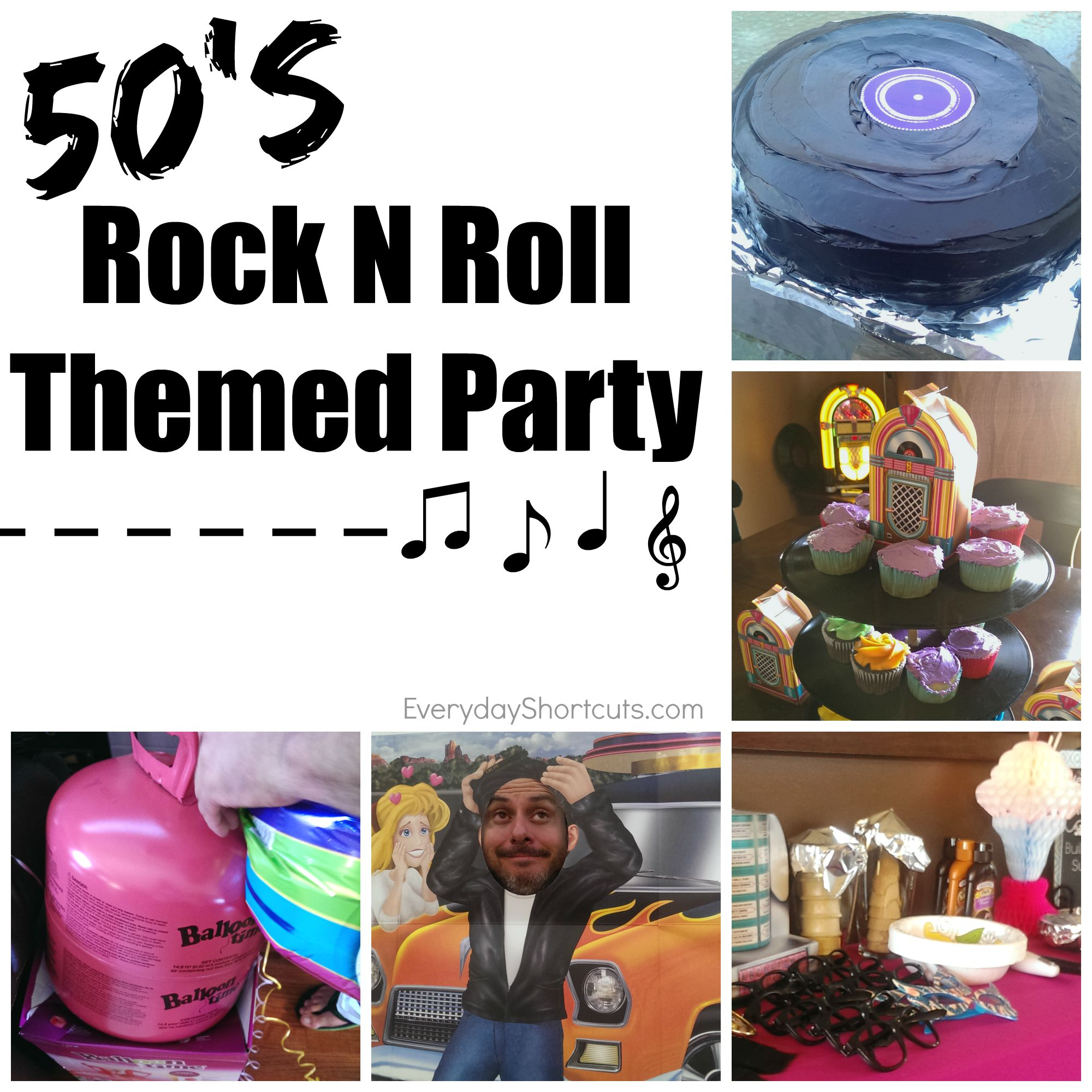 50 39 s rock n roll themed party everyday shortcuts - Rock and roll theme party decorations ...