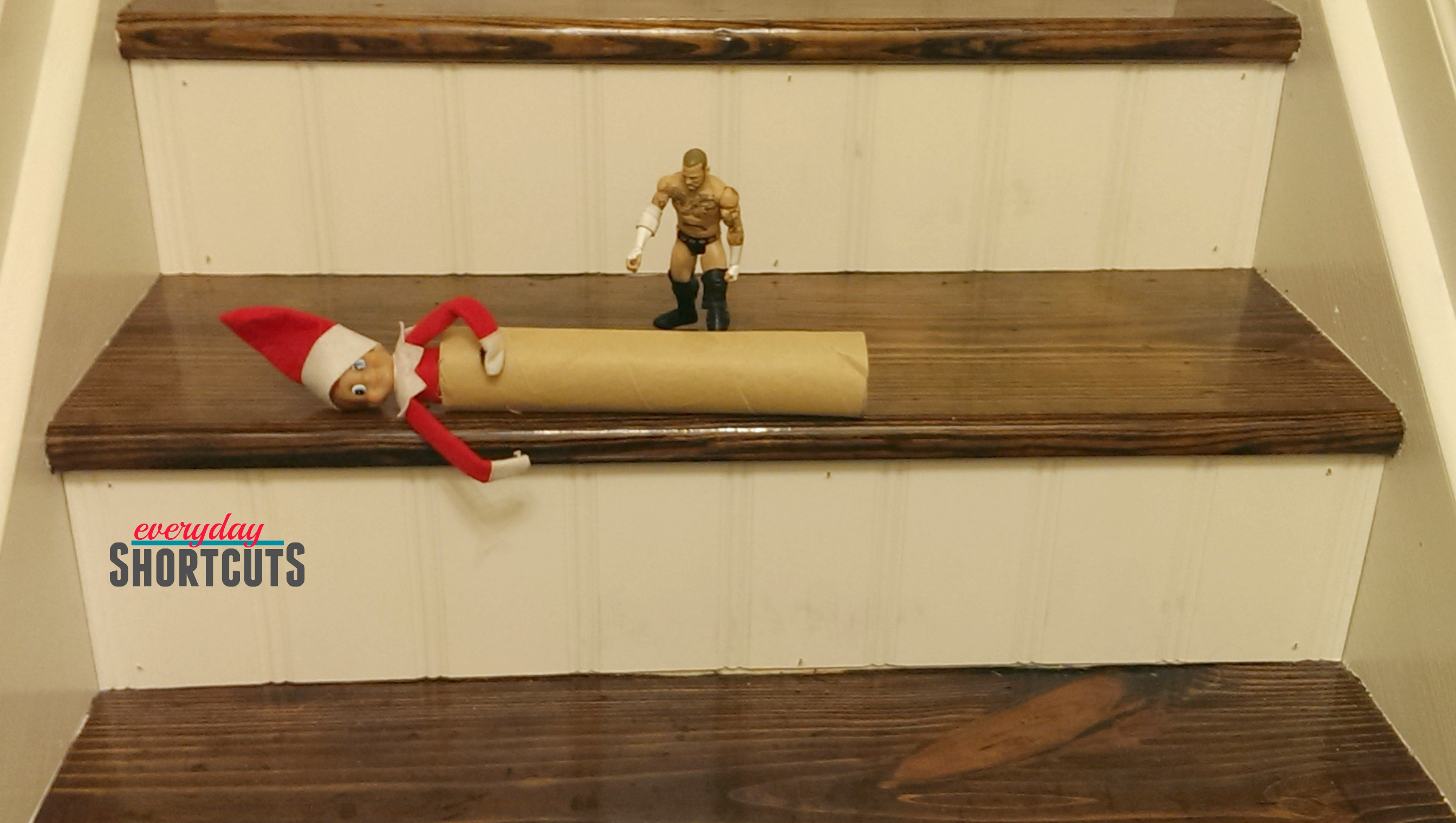 elf on the shelf going down the stairs