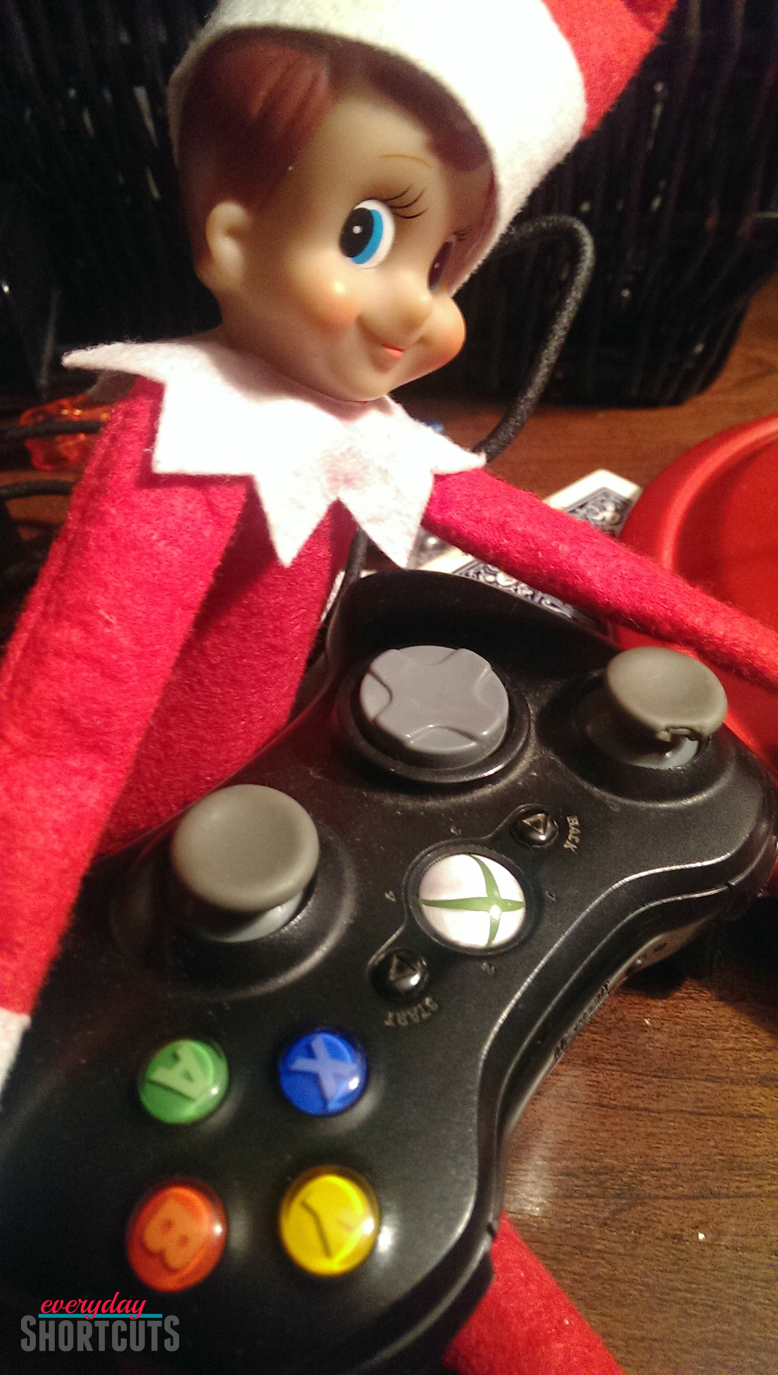elf on the shelf with xbox controller