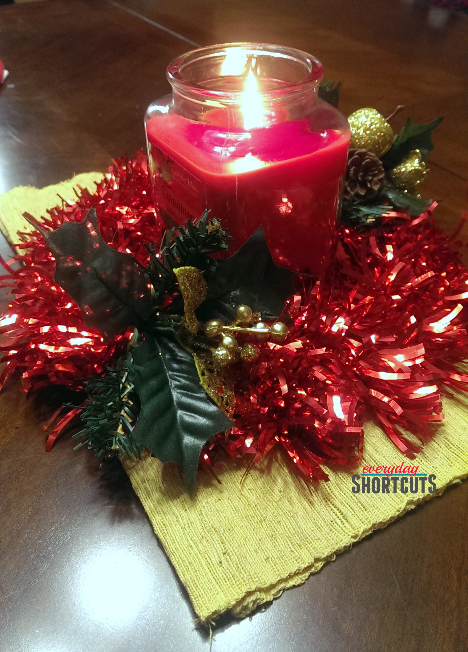 holiday centerpiece decor with candle
