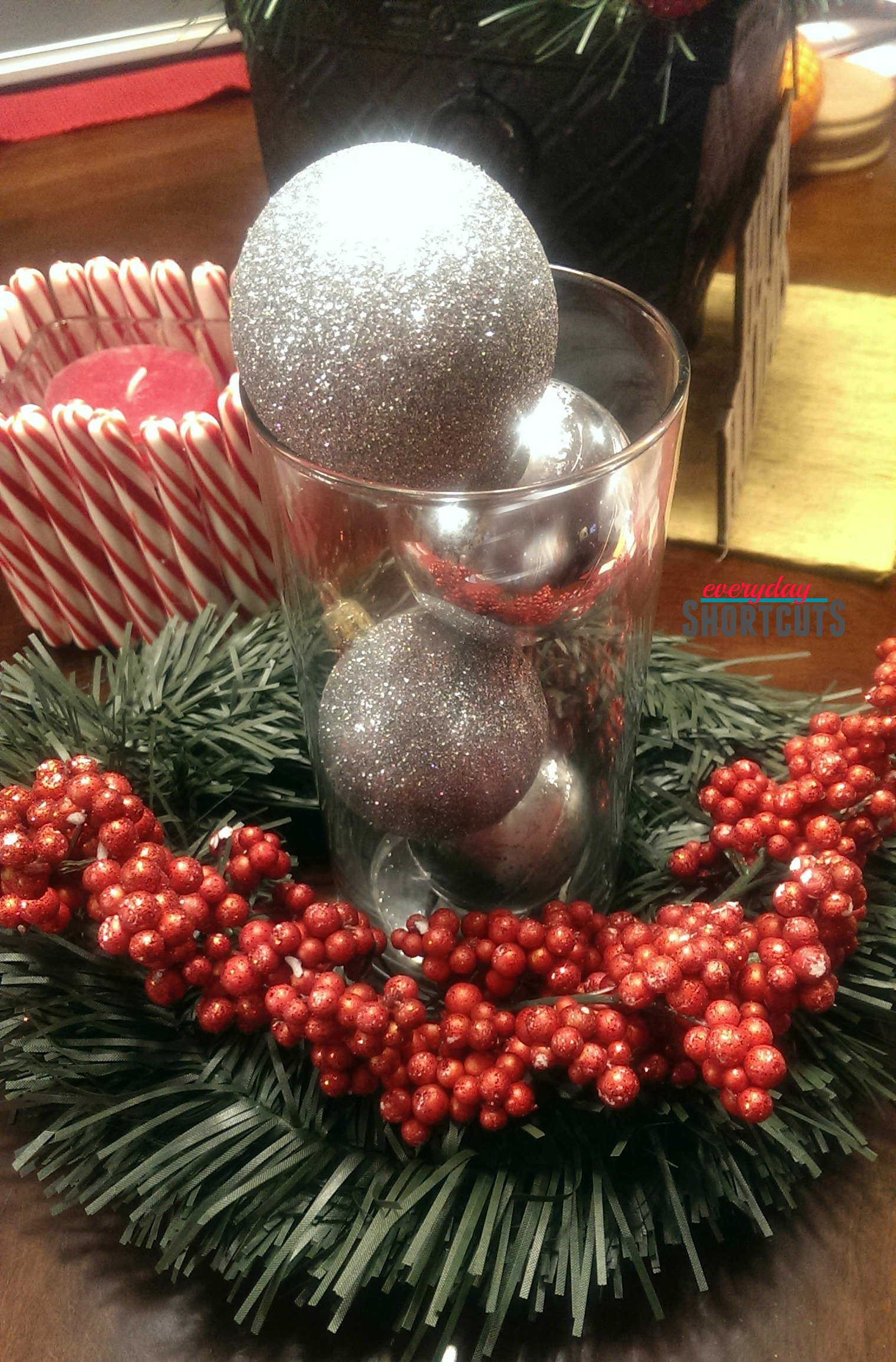 holiday centerpiece with garland