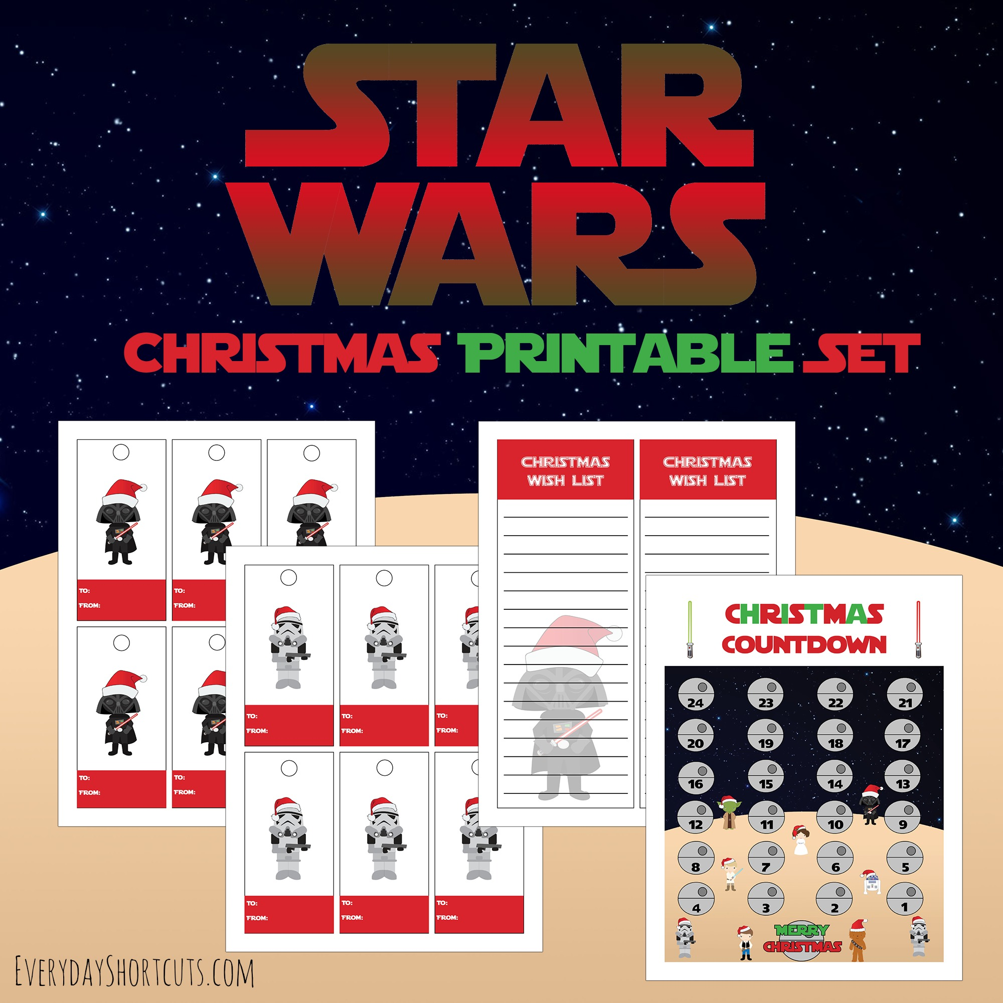 star wars themed christmas printable set
