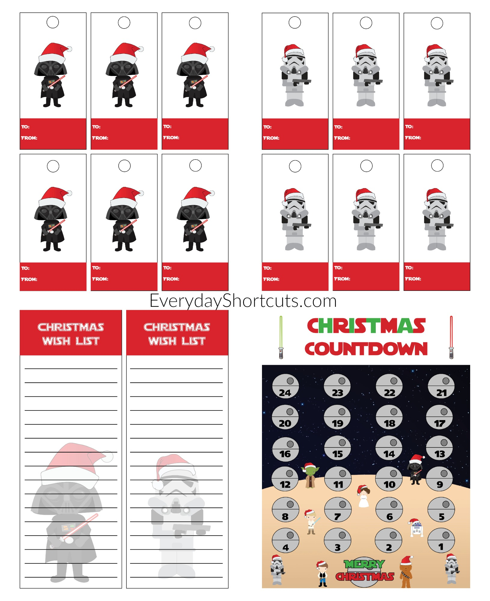 Star Wars Themed Christmas Printable Set - Wish List, Gift Tags ...