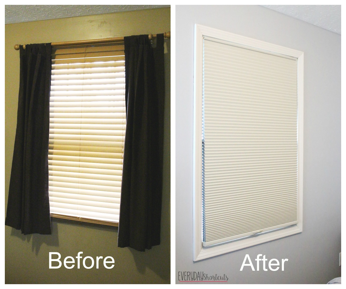 before and after blinds master bedroom