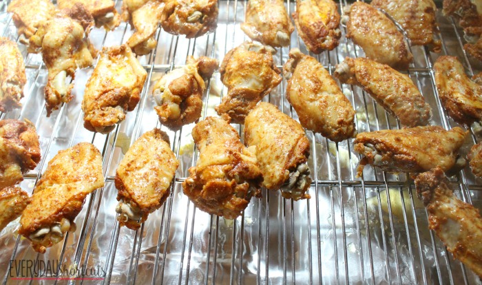 chicken wings on rack