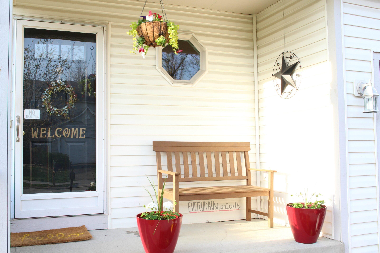 hanging basket on porch