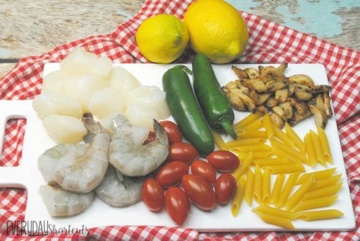 Cajun seafood pasta ingredients