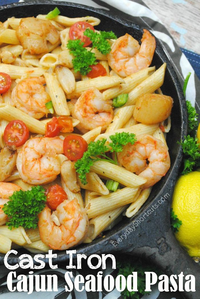 cast iron seafood pasta