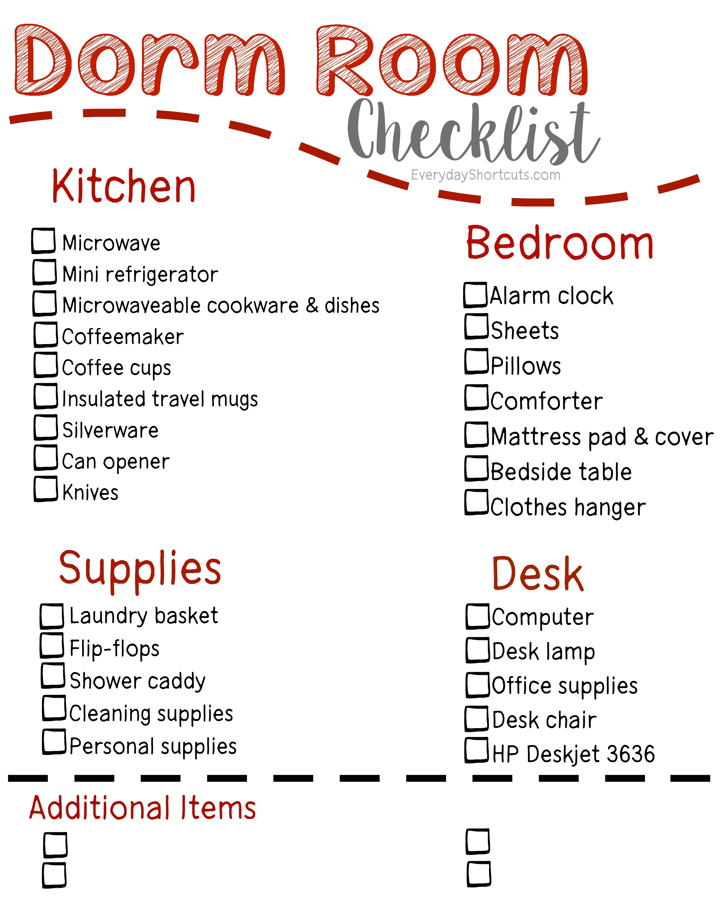 Captivating Dorm Room Checklist Part 29