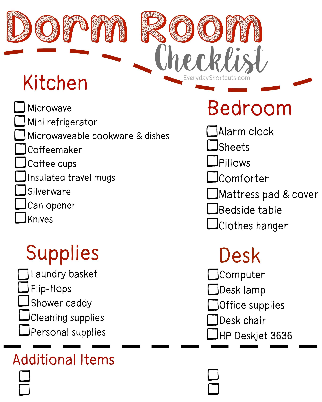 Dorm Room Checklist Everyday Shortcuts