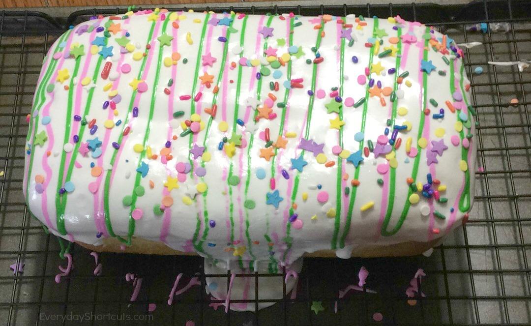 unicorn loaf cake iced