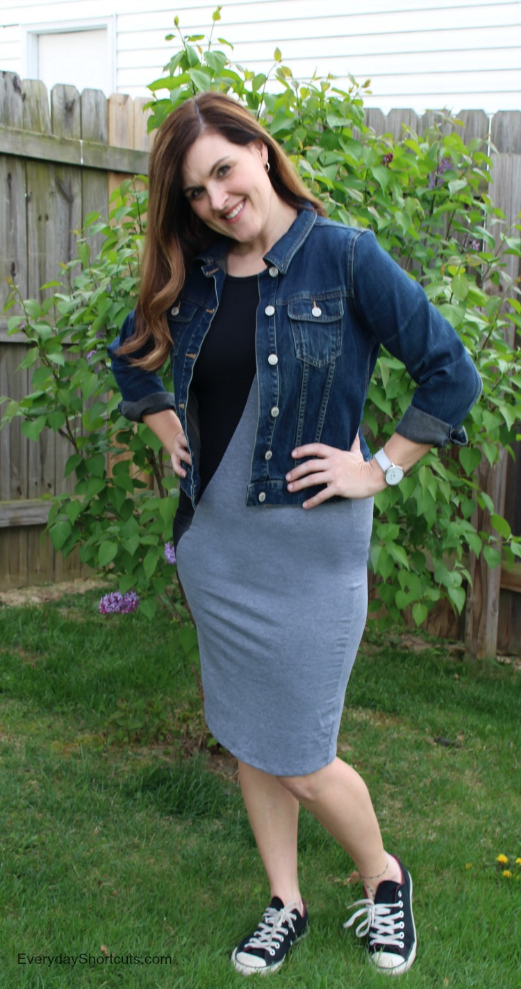 julia dress with jean jacket
