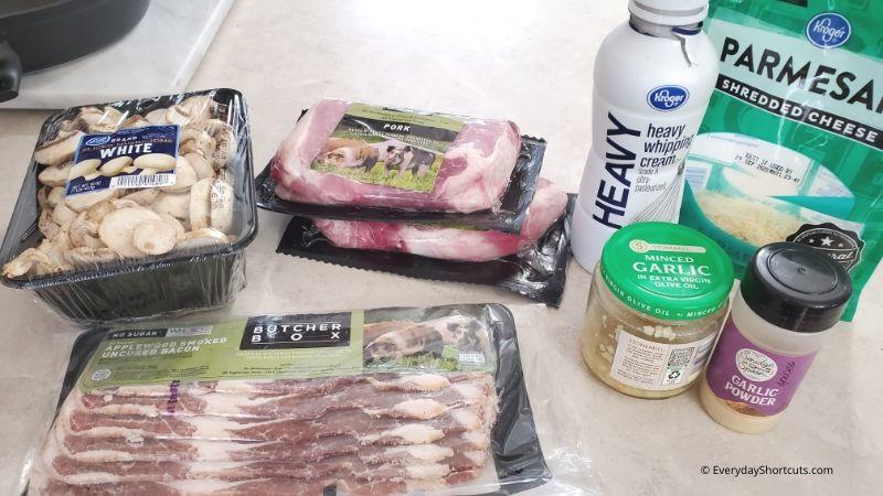 ingredients-for-bacon-mushroom-pork-chops