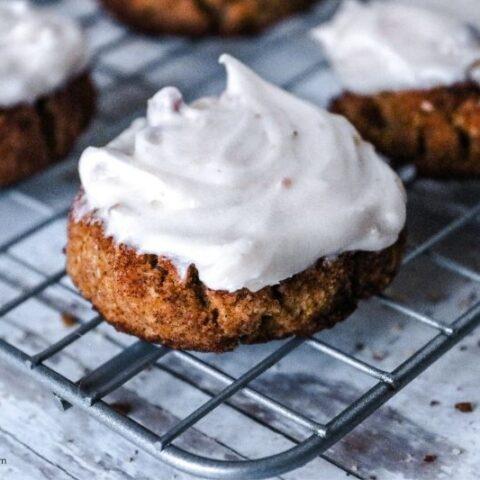 Keto Pumpkin Snickerdoodle Cookies with Pecan Cream Cheese Frosting
