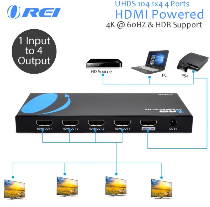 OREI 1x4 HDMI Splitter Image